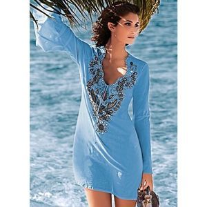 Venus beaded tunic top swimsuit coverup blue 10